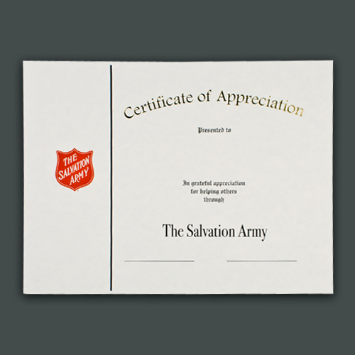 certificate of appreciation with raised shield